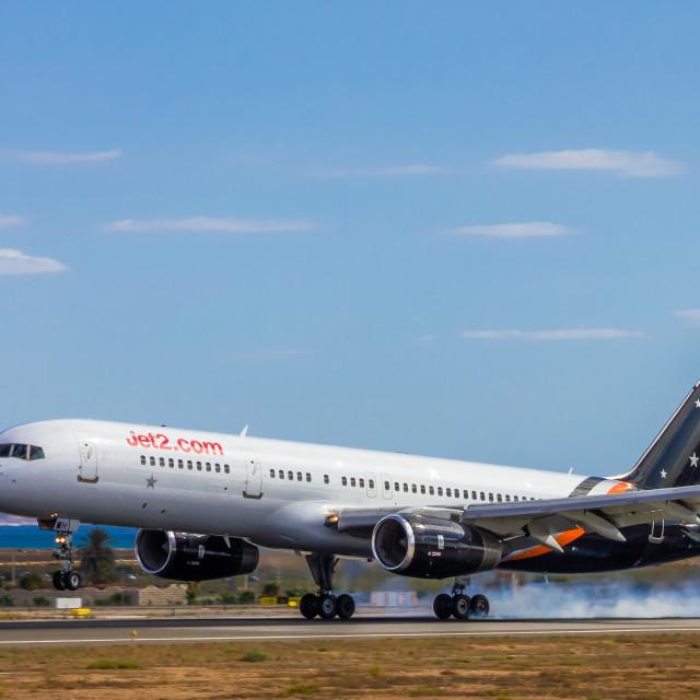 """Boeing B757 Titan Airwyas G-POWH"" stock image"