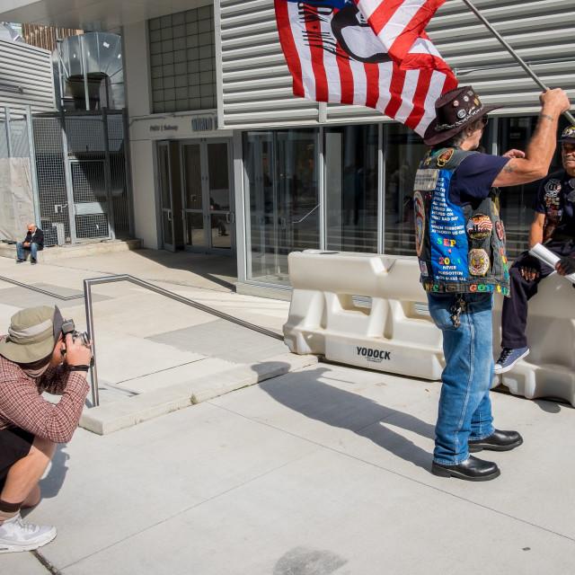 """Flag Bearer 9/11 Anniversary, World Trade Centre."" stock image"