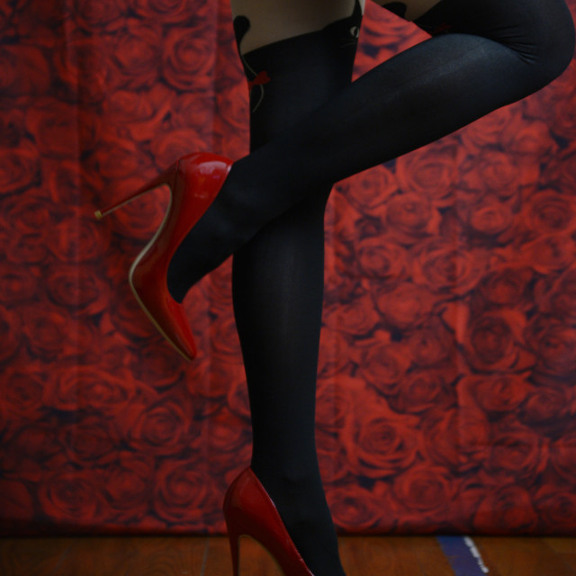 """""""red roses, red heels"""" stock image"""