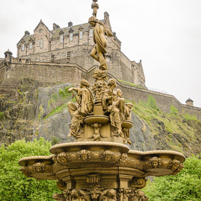 """Ross Fountain and Edinburgh Castle, Scotland"" stock image"