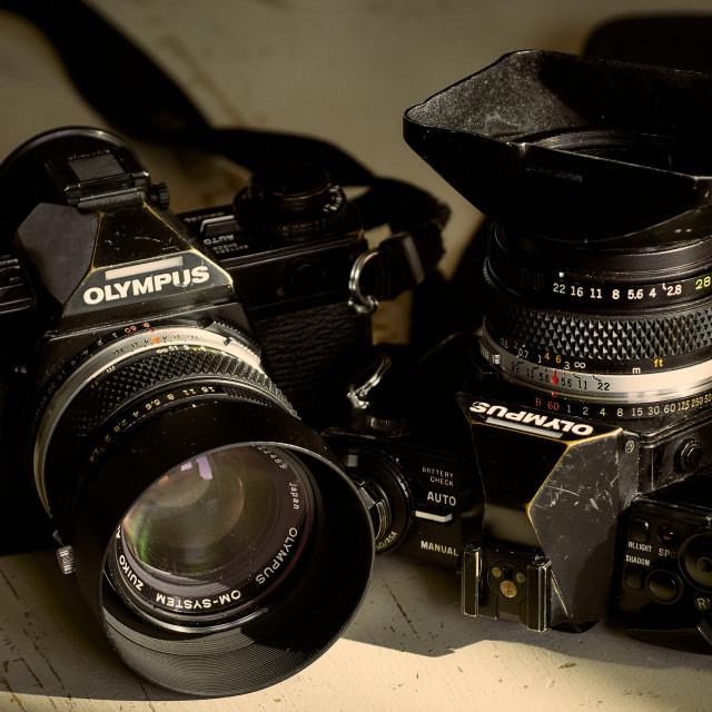 """Two 35mm film single lens reflex cameras"" stock image"