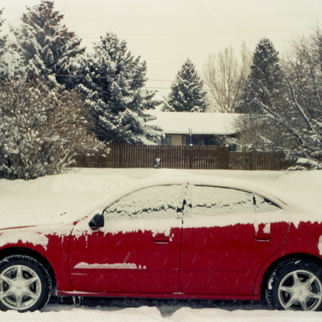 """""""Red Car in Winter"""" stock image"""