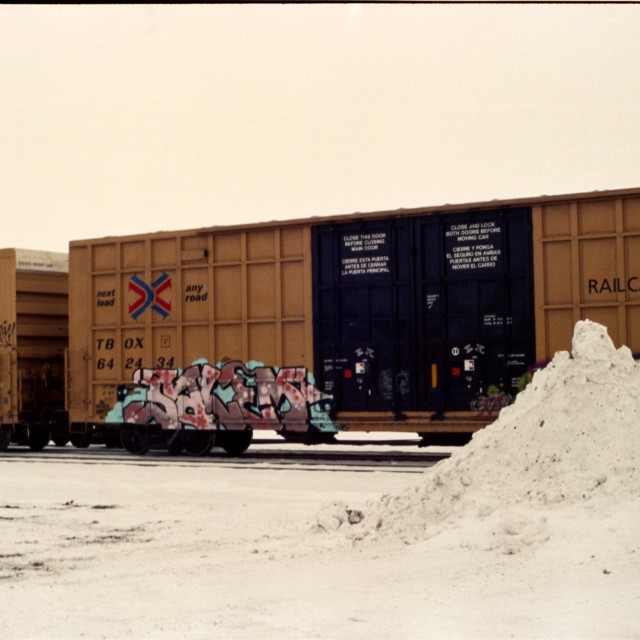 """""""Train Cars and Snow"""" stock image"""
