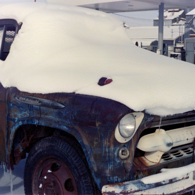 """""""Vintage Truck Covered in Snow"""" stock image"""