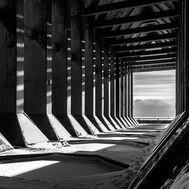 """""""Light at the End, Ore Dock"""" stock image"""