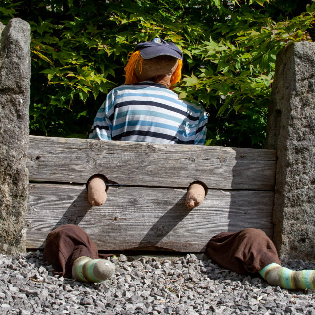 """""""Kettlewell Scarecrow Festival, Yorkshire Dales."""" stock image"""