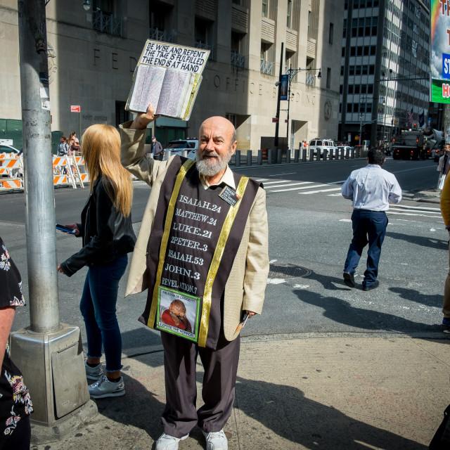 """Pavement Preacher in New York"" stock image"