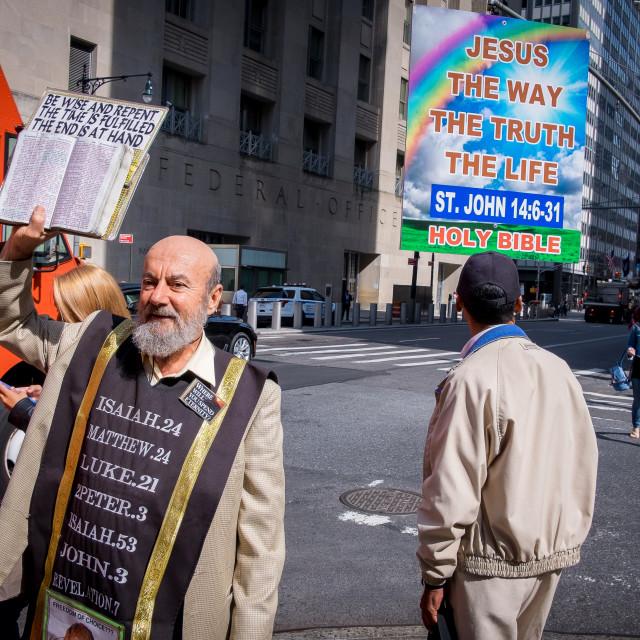 """Pavement Preacher in New York 2"" stock image"