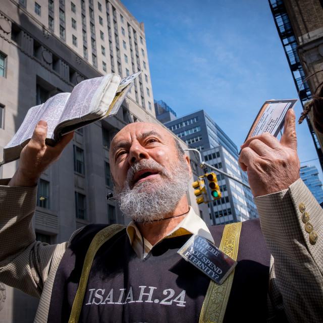 """Pavement Preacher in New York 6"" stock image"