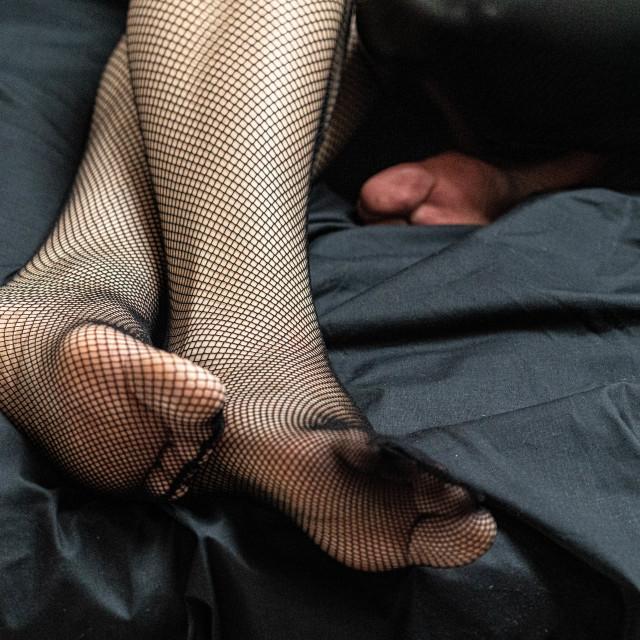 """""""Stockinged feet"""" stock image"""