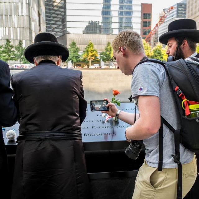 """Prayers at 9/11 Memorial , World Trade Centre, New York. 3"" stock image"