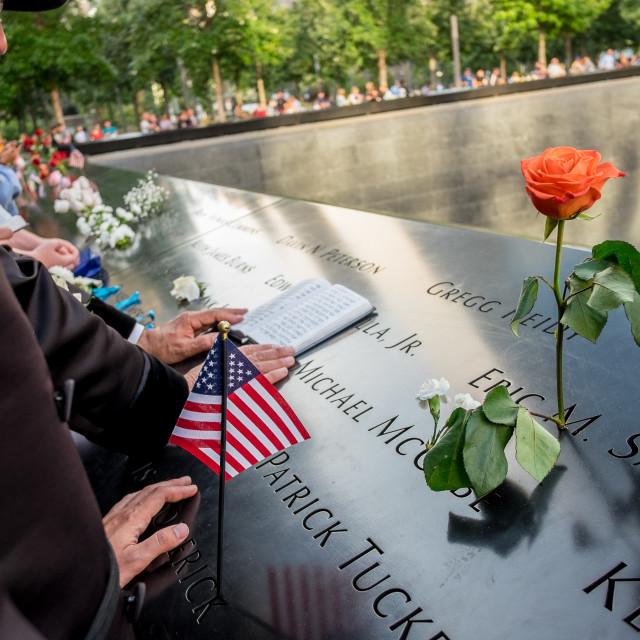 """Prayers at 9/11 Memorial , World Trade Centre, New York."" stock image"
