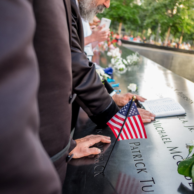 """Prayers at 9/11 Memorial , World Trade Centre, New York. 2"" stock image"