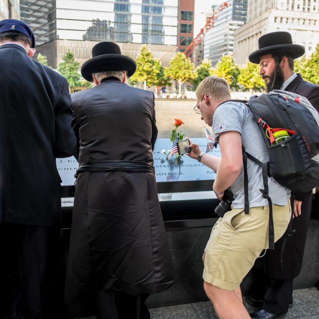 """Prayers at 9/11 Memorial , World Trade Centre, New York. 4"" stock image"