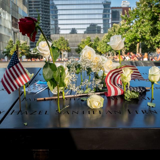 """9/11 Memorial , World Trade Centre, New York."" stock image"