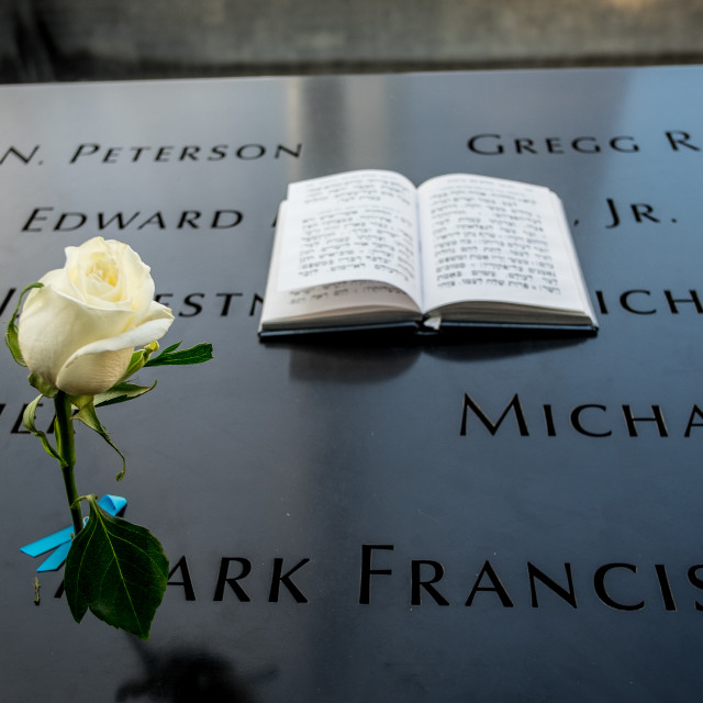 """Jewish prayer book at 9/11 Memorial , World Trade Centre, New York."" stock image"
