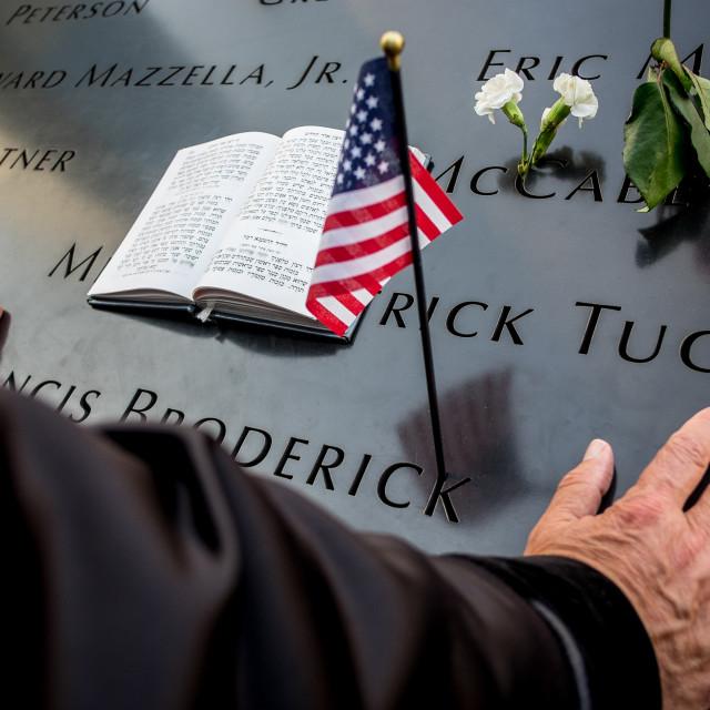 """Prayers at 9/11 Memorial , World Trade Centre, New York. 5"" stock image"