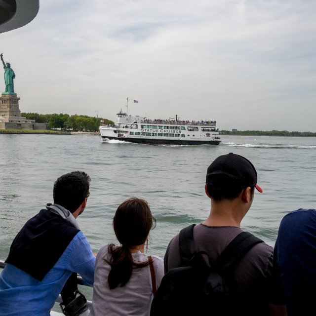 """""""Statue of Liberty from the Staten Island Ferry."""" stock image"""