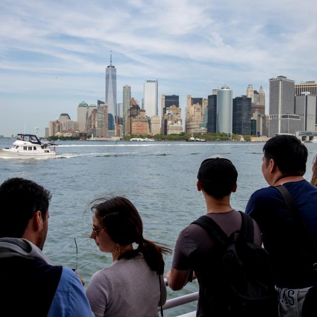 """Manhattan seen from Staten Island Ferry."" stock image"