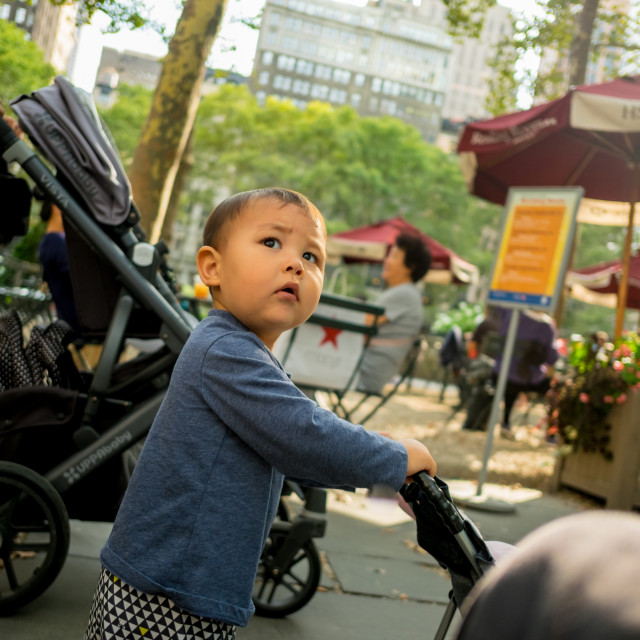 """Child in Bryant Park, Manhattan."" stock image"