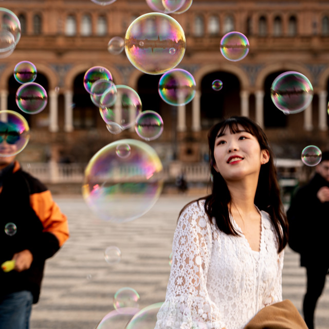 """""""Happy among the bubbles"""" stock image"""