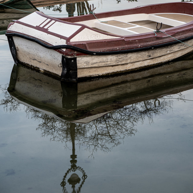 """""""The reflection of a boat"""" stock image"""
