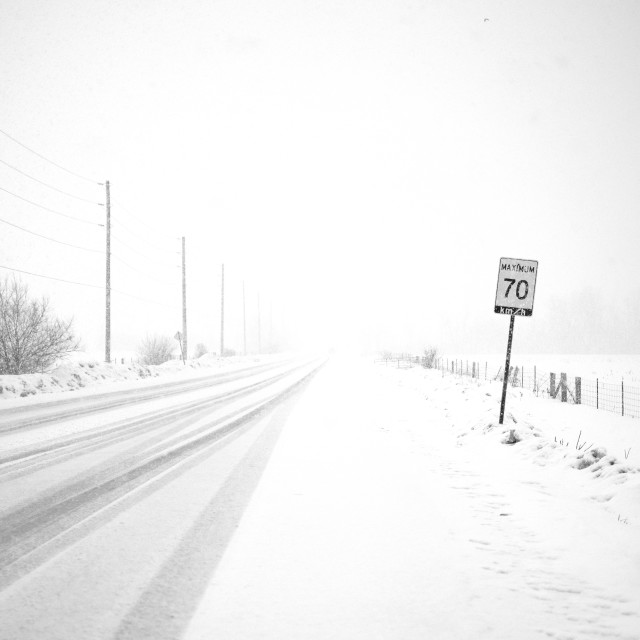"""""""Whiteout conditions on rural road"""" stock image"""