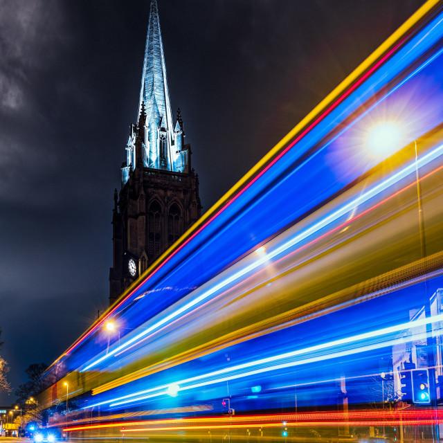 """Bus light trails from Regent Street, Cambridge UK."" stock image"
