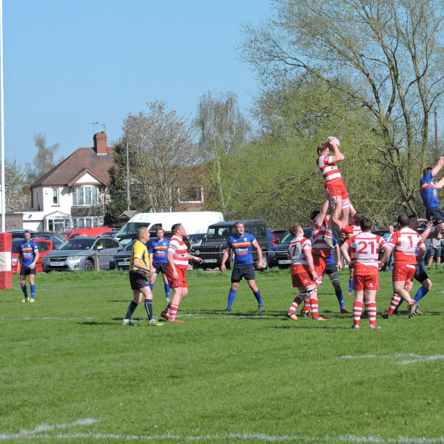 """""""Rugby Match, Home Game, Old Ed's, Nuneaton, Warwickshire."""" stock image"""
