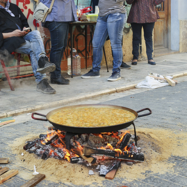 """""""Paella cooking on the street of Valencia, Spain"""" stock image"""