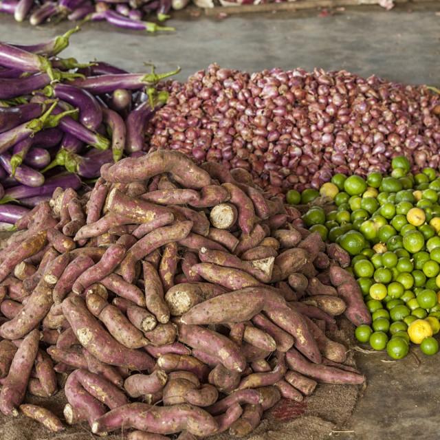 """""""Vegetable and fruit market in Sri Lanka"""" stock image"""