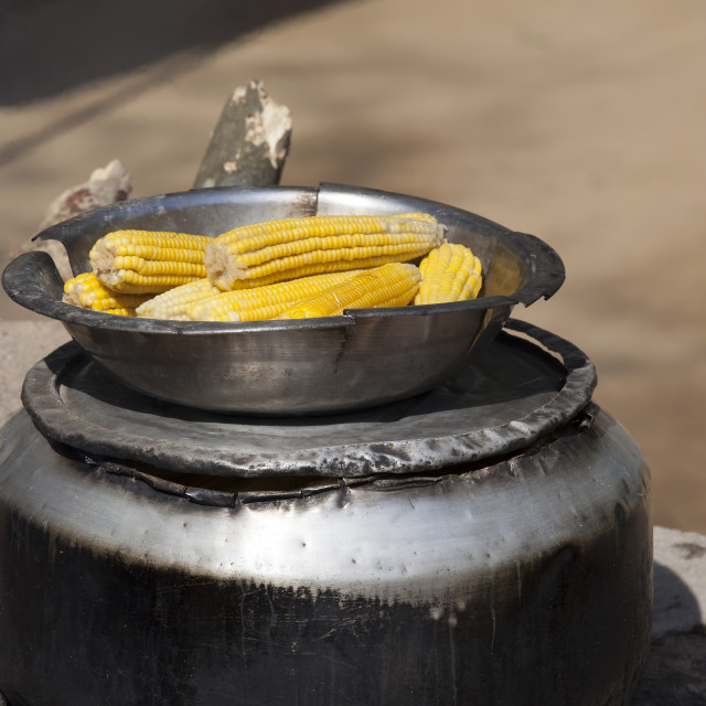 """""""Cooking corn for sale"""" stock image"""