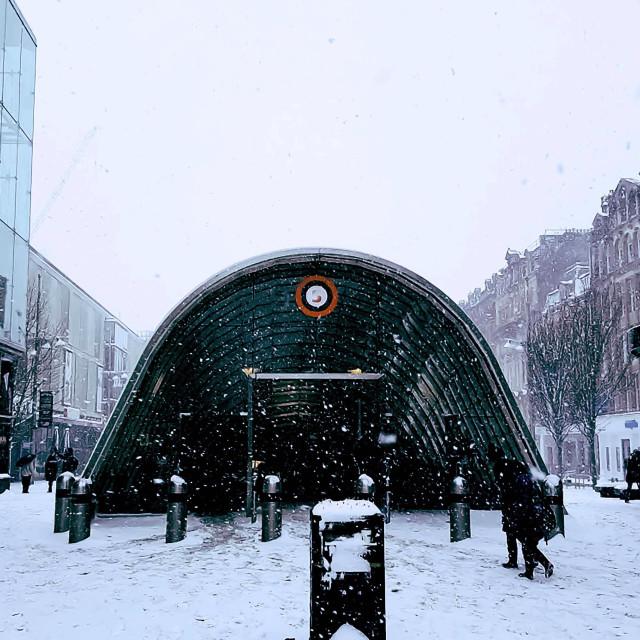 """""""Snowfall scene in Glasgow"""" stock image"""
