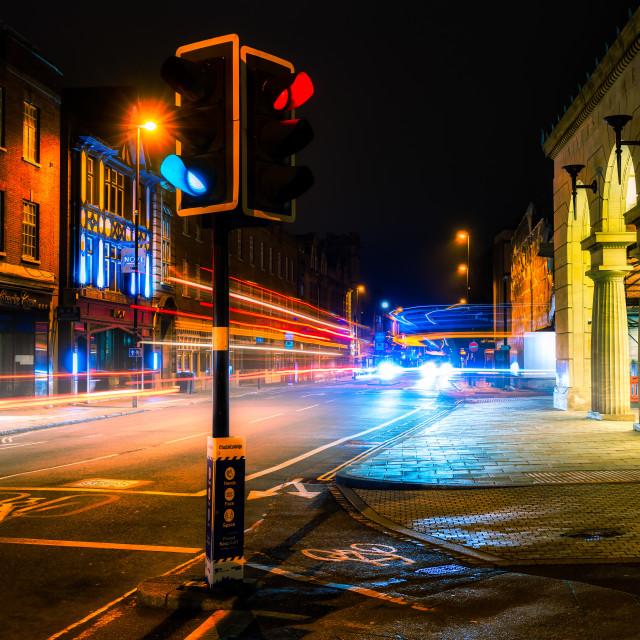 """Light Trails from Regent Street, Cambridge UK."" stock image"