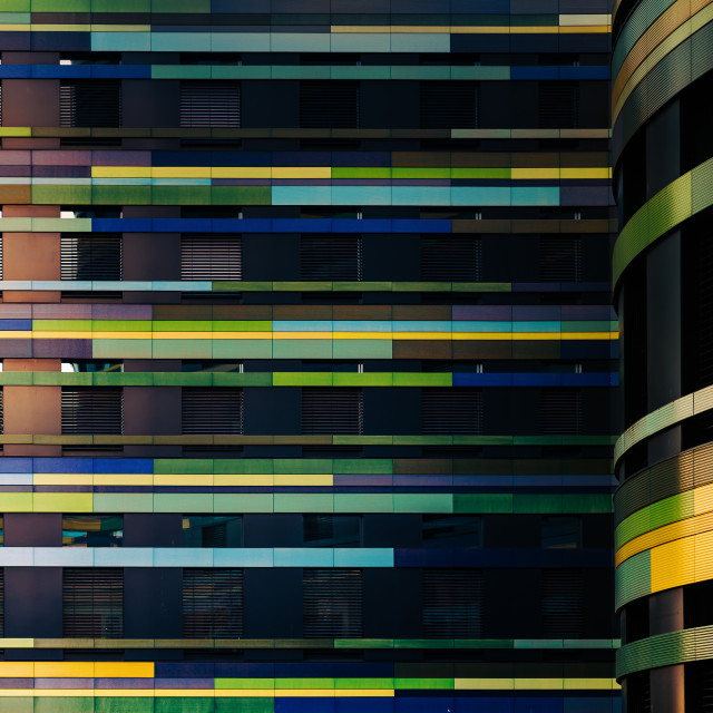 """""""""""Harlequin Years"""" - Architectural abstract of colourful office building in Hamburg, Germany"""" stock image"""