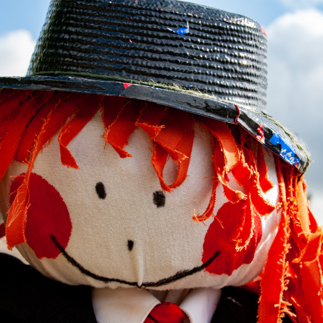 """""""Kettlewell Scarecrow Festival and Trail, Scarecrow Head. Yorkshire Dales, England."""" stock image"""