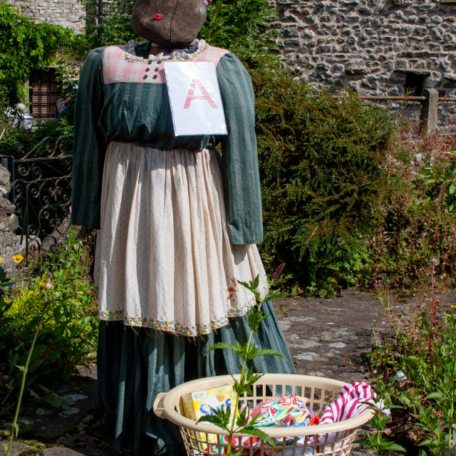 """""""Kettlewell Scarecrow Festival and Trail, Scarecrow with Washing. Yorkshire Dales, England."""" stock image"""