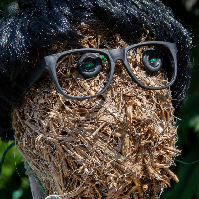 """""""Kettlewell Scarecrow Festival and Trail, Straw Scarecrow Head. Yorkshire Dales, England."""" stock image"""