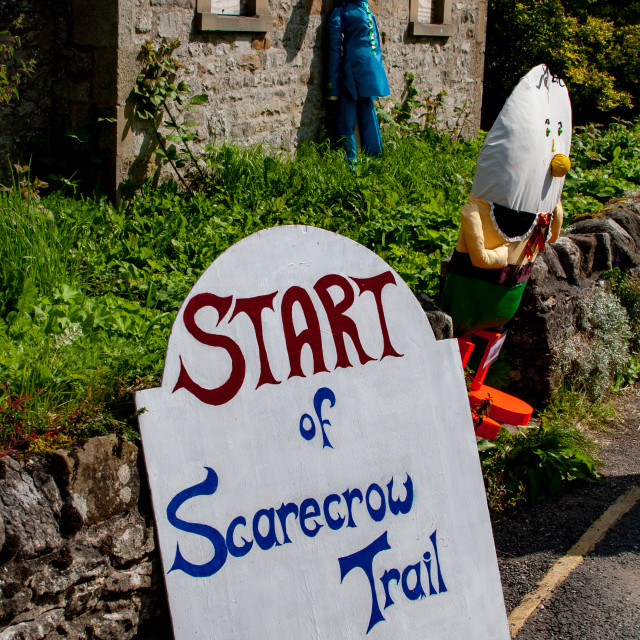"""""""Kettlewell Scarecrow Festival and Trail, Start Sign. Yorkshire Dales, England."""" stock image"""