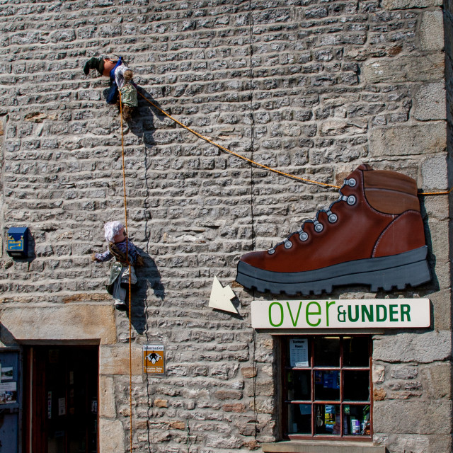 """""""Kettlewell Scarecrow Festival and Trail, Ascent of Mount Kettlewell. Yorkshire Dales, England."""" stock image"""