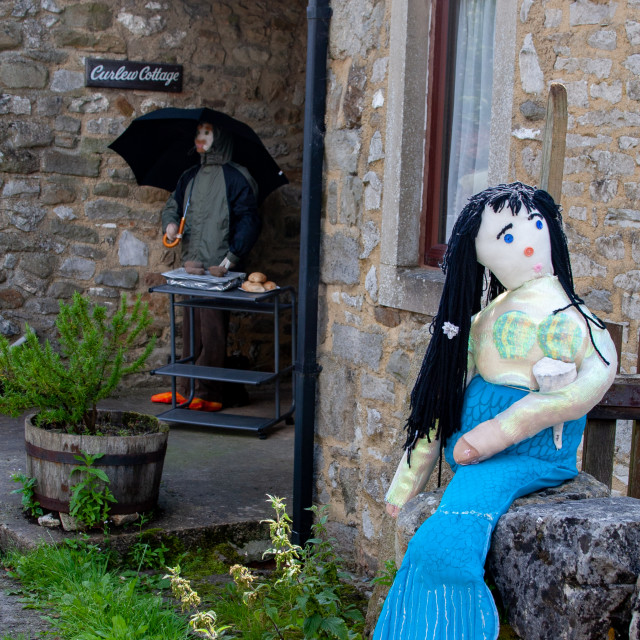 """""""Kettlewell Scarecrow Festival and Trail, Barbeque. Yorkshire Dales, England."""" stock image"""