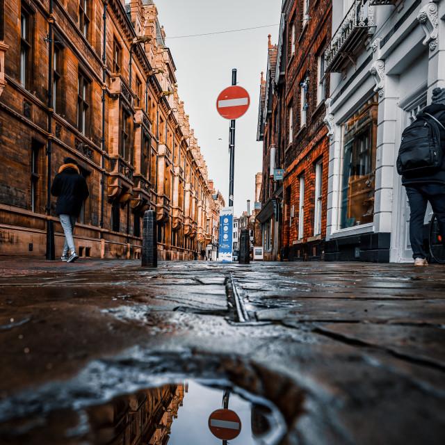 """Ground level from Trinity Street, Cambridge UK."" stock image"