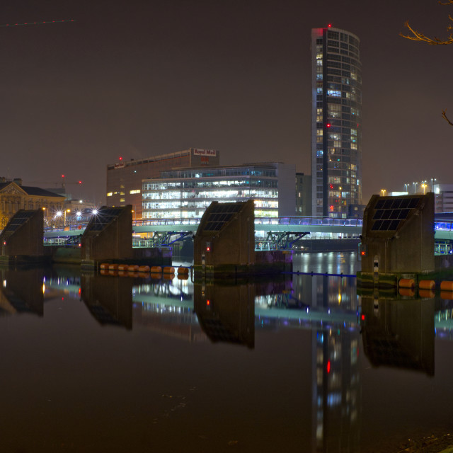 """""""Lagan Weir and Obel Tower Belfast"""" stock image"""