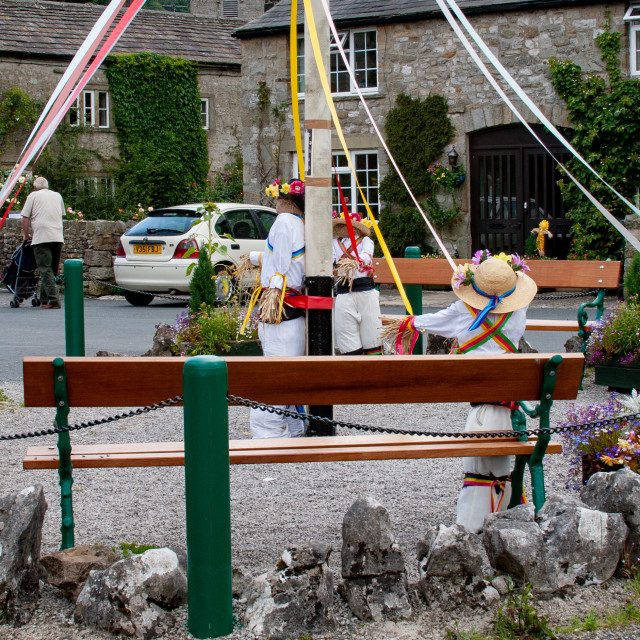 """""""Kettlewell Scarecrow Festival and Trail, Maypole Dancers. Yorkshire Dales, England."""" stock image"""