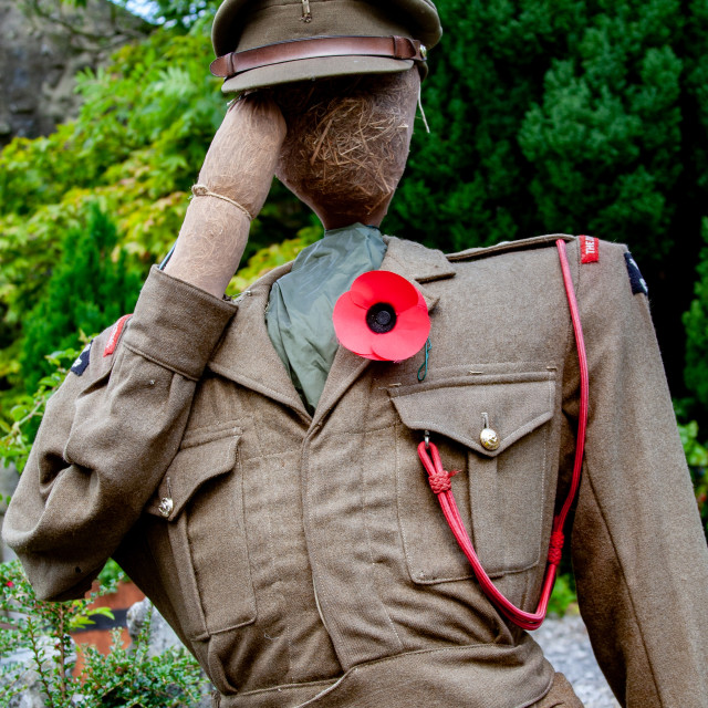 """""""Kettlewell Scarecrow Festival and Trail, Army Officer. Yorkshire Dales, England."""" stock image"""