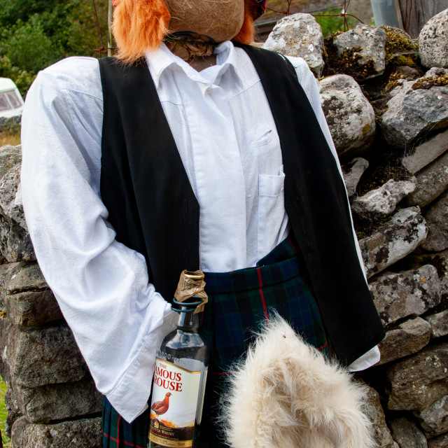 """""""Kettlewell Scarecrow Festival and Trail, Scotsman in Kilt. Yorkshire Dales, England."""" stock image"""