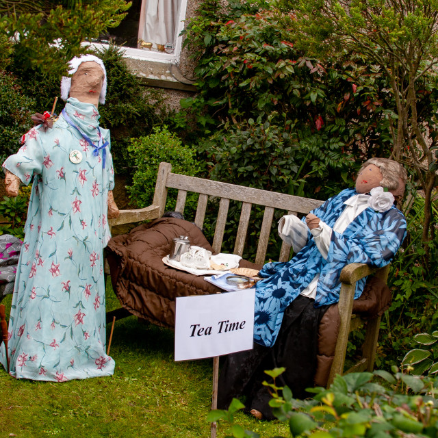 """""""Kettlewell Scarecrow Festival and Trail, Tea Time. Yorkshire Dales, England."""" stock image"""