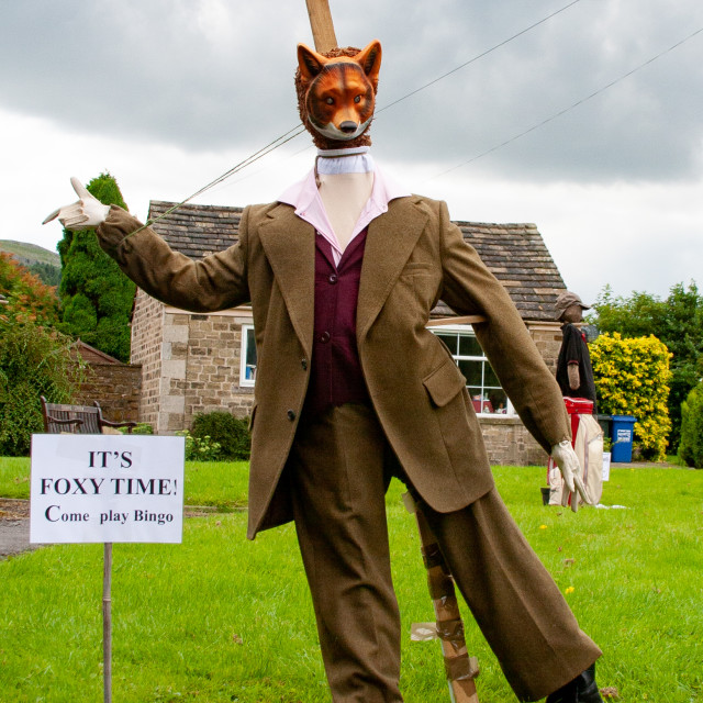 """""""Kettlewell Scarecrow Festival and Trail, Foxy, Yorkshire Dales, England."""" stock image"""
