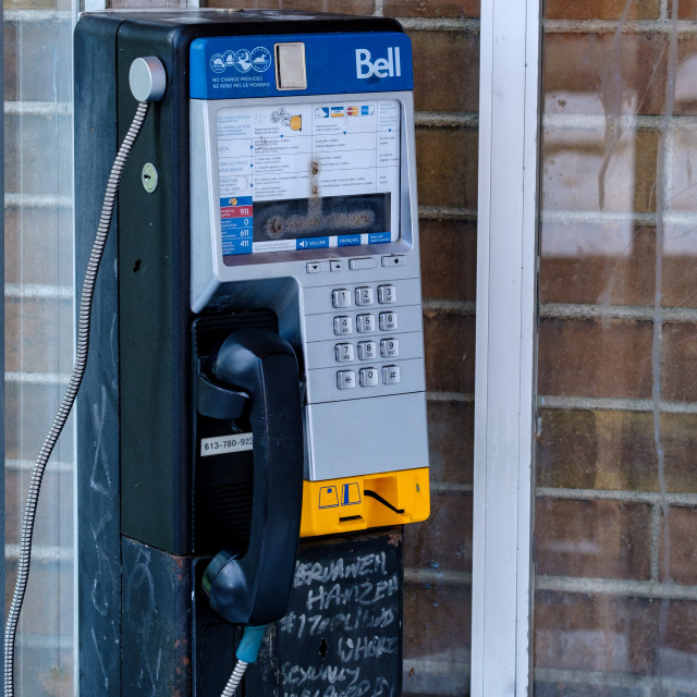 """""""Bell Canada payphone in Ottawa phone booth"""" stock image"""