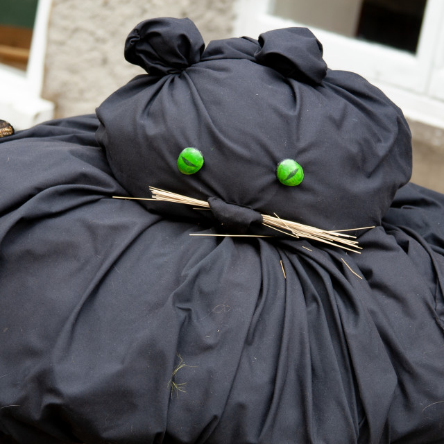 """""""Kettlewell Scarecrow Festival and Trail, Black Cat. Yorkshire Dales, England."""" stock image"""